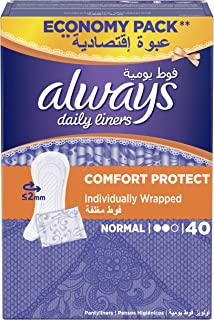Always Daily Liners Comfort Protect Individually Wrapped, 40 Count