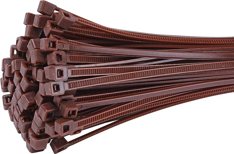 Fix&Easy Kabelbinder 3,6x300mm braun 75 Stück Set für Weidezaunmatte Weidengeflecht Zaunfeld