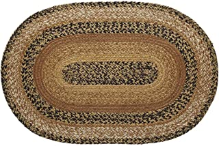 VHC Brands Kettle Grove Jute Oval Rug 20x30 Country Braided Flooring, Caramel Brown