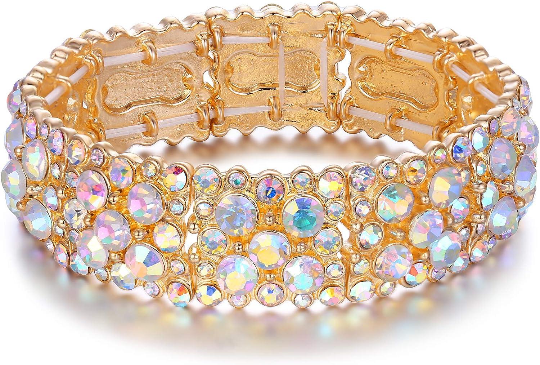 EVER FAITH Women's Round Austrian Crystal Elegant Bridal Stretch Bracelet