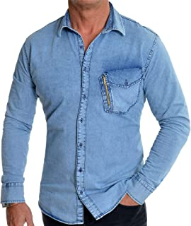 Men's Light Blue Denim Jean Shirt Regular Collar Gold Zipper Front Pocket Slim Fit