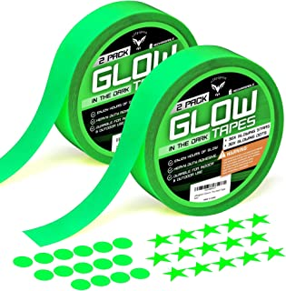 Glow in The Dark Tape, Ultra Luminous Tape, Premium Pack 2 Rolls of UV Glow Tape, 30 Fluorescent Stars, 30 Dots Stickers, Home Decor Wall Ceiling, Stairs, Stage, Party Halloween Decorations