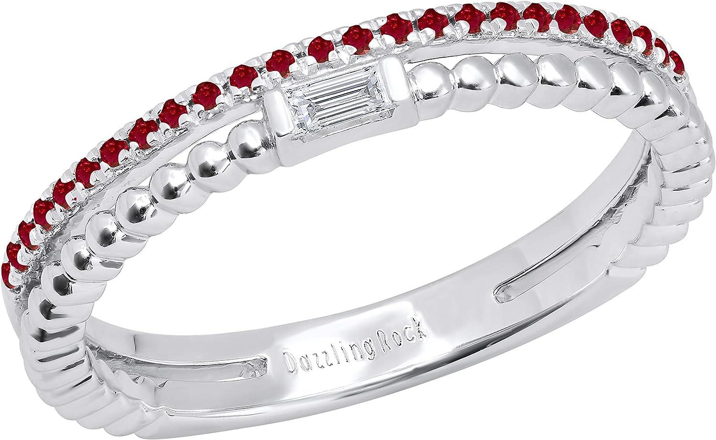 Dazzlingrock Collection Round Gemstone Diamond Max 82% OFF Baguette White trust