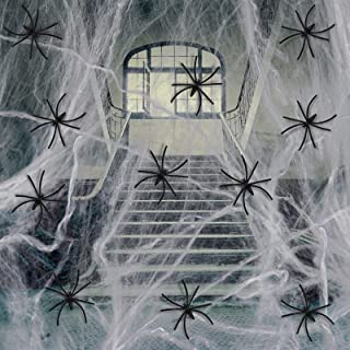 Joepen 1600 sqft Fake Spider Web Halloween Decorations with 100 Extra Fake Spiders, Super Stretch Spider Web Decoration fo...