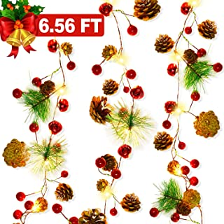 Christmas Garland with Lights, Christmas Pinecone Lights Battery Operated 6.56FT 20 LED Red Berry with Pine Cone Fall Decor Garland Lights Indoor Outdoor Thanksgiving Decorations Christmas Party