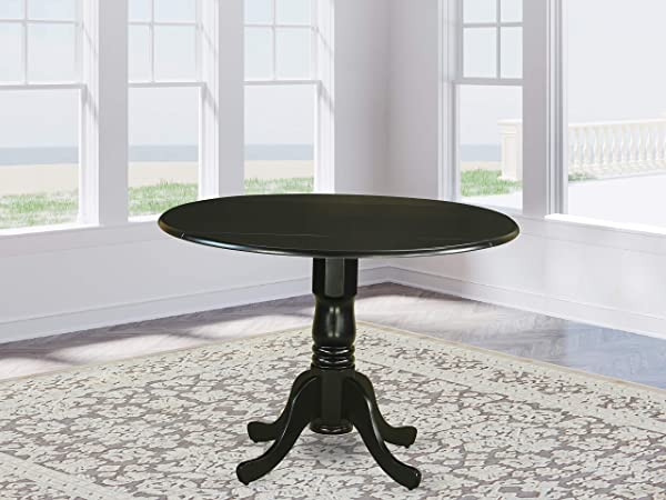East West Furniture DLT BLK TP Round Table With Two 9 Inch Drop Leaves