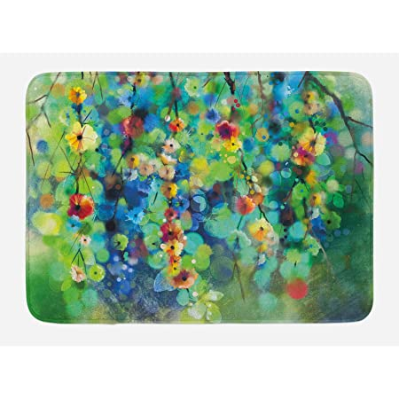 "Ambesonne Flower Bath Mat, Vibrant Colored Blooms Clusters Down from Branch Spring Season Birth Season Image, Plush Bathroom Decor Mat with Non Slip Backing, 29.5"" X 17.5"", Blue Green"