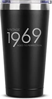 1969 50th Birthday Gifts for Women Men | 16 oz Black Insulated Stainless Steel Tumbler w/Lid | Vintage 50 Year Old Best Gift Present Ideas for Mom Dad | Tumblers Party Decorations Supplies Presents