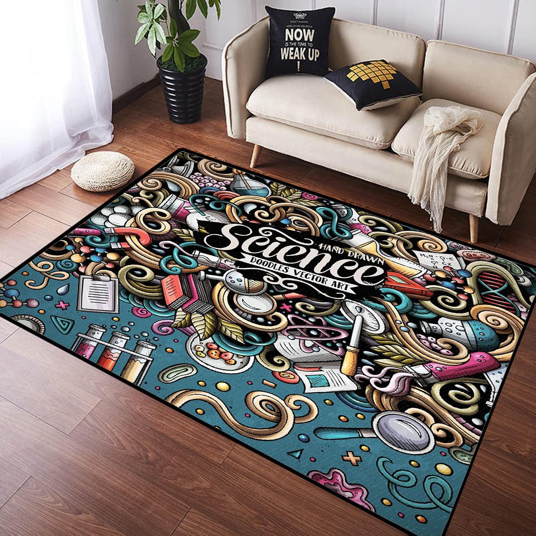 ZOMOY Long Floor Mat Carpet Genuine online shopping Cartoon Hand Cute Drawn Scie Doodles