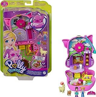 Polly Pocket On the Farm Piggy Compact, Farm Theme, Micro Polly Doll & Friend Doll, 2 Animal Figures (1 Alpaca with Hair),...