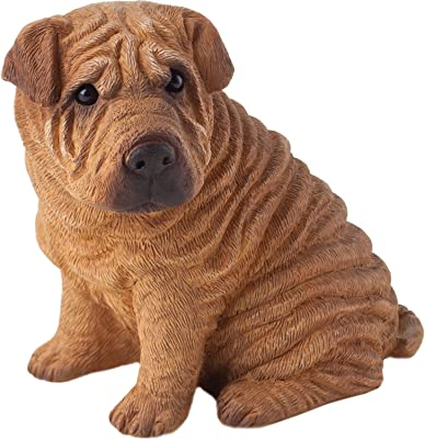 Sandicast Small Size Red Chinese Shar-Pei Sculpture, Sitting