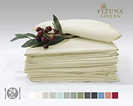 Pizuna Linens 100% Long Staple Cotton Ivory/Cream Small Dinner Napkins - 14 inch x 14 inch (Set of 24), Soft, Durable Table Napkins.