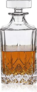 Viski Admiral Decanter Crystal Glass Dispenser for Whisky, Bourbon, Tequila, Brandy, Gift for Liquor Lovers, 30 oz, Clear