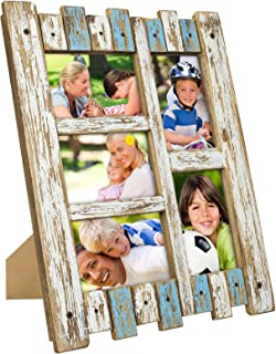 Excello Global Products Rustic Distressed Wood Frame: Holds Five 4