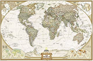 National Geographic: World Executive Enlarged Wall Map – Laminated (73 x 48 inches)..