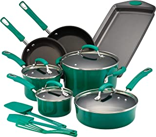 Rachael Ray 14557 Brights Nonstick Cookware Pots and Pans Set, 14 Piece, Fennel Gradient