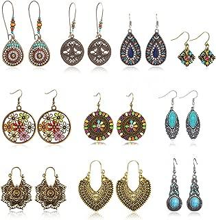 10 Pairs Vintage Drop Dangle Earrings Bohemian National Style, Hollow Water Drop Bohemian Statement Earrings for Women Girls Fashion