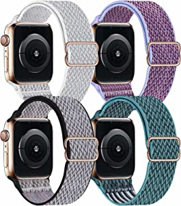 OHCBOOGIE 4 Pack Nylon Solo Loop Compatible with Apple Watch,Stretch Adjustable Soft Sport Breathable Straps for Iwatch Series 7/6/5/4/3/2/1/SE,Seashell/Lilac/Royal Pulse/Celestial Teal,42/44/45mm