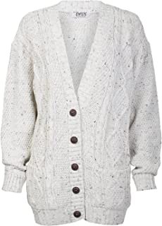 Womens Long Sleeves Plus Size Cable Knitted Grandad Button Cardigan
