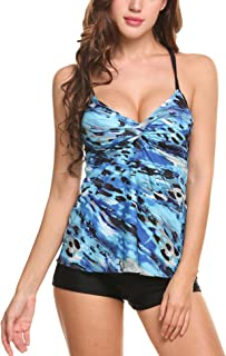 HOTOUCH Women's Bathing Suit Floral Tankini Top Bikini Swimwear With Brief 3 Color S-XXL
