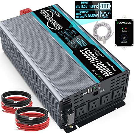 FLAMEZUM 1500W Pure Sine Wave Power Inverter DC 12v to AC 110v-120v Peak Power 3000W with 4.8A Dual USB Ports 3 AC Outlets and Remote Control LCD Display for Home Solar RV Truck