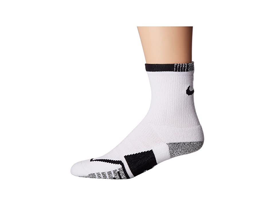 Nike NIKEGRIP Elite Crew Tennis Socks (White/Black) Crew Cut Socks Shoes