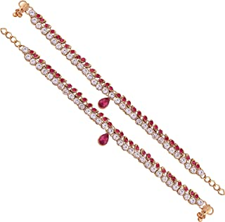 I Jewels Gold Plated Bollywood Anklets/Payal with Round Stones for Girls & Women A009Q