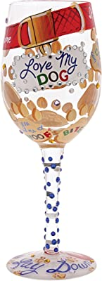 "Designs by Lolita ""Love My Dog"" Hand-Painted Artisan Wine Glass, 15 oz."