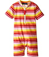 Toobydoo - Multi Stripe/White Zip Short Sleeve Sunsuit (Infant)