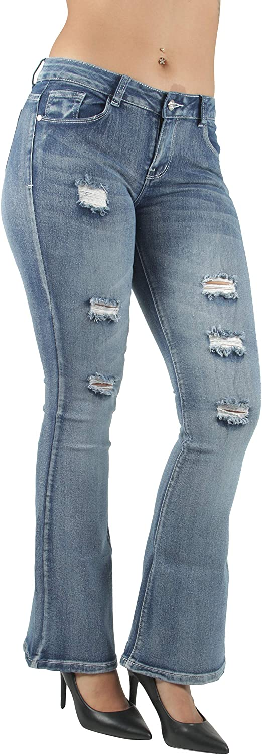 Womens Juniors Plus Size Butt Lift Push Up Destroyed Ripped Flare Jeans
