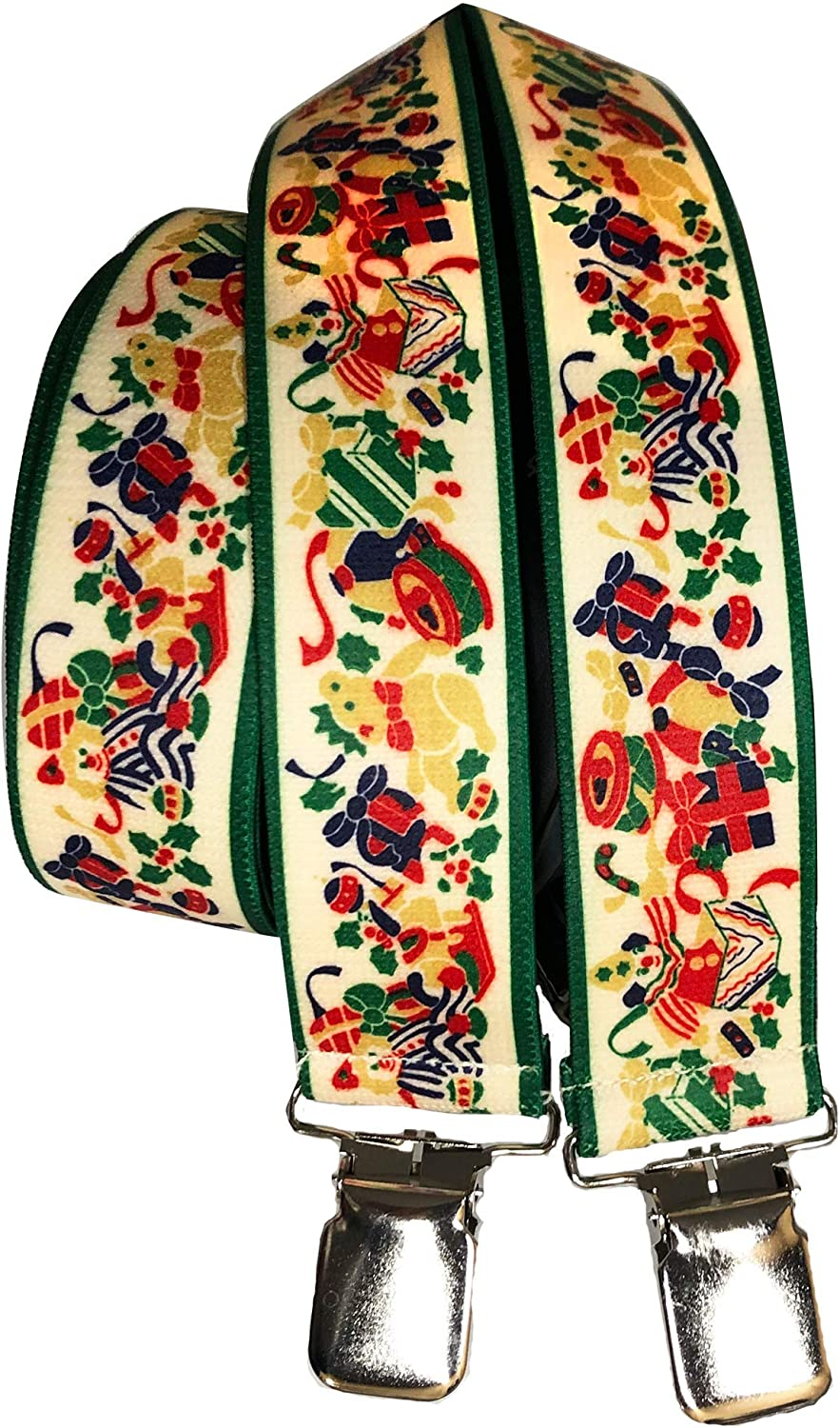 Men's Christmas Toys and Gifts Suspenders with Green Borders X-Back