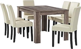 [en.casa] Table à Manger en chêne Ancien avec 6 chaises crème Cuir-synthétique rembourré 140x90