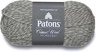 Patons Classic Wool Yarn, 3.5oz, Gauge 4 Medium, 100% Wool Light Grey Marl - For Crochet, Knitting & Crafting