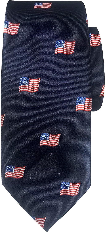 Jacob Alexander Boys' Woven American Flags USA Navy Neck Tie