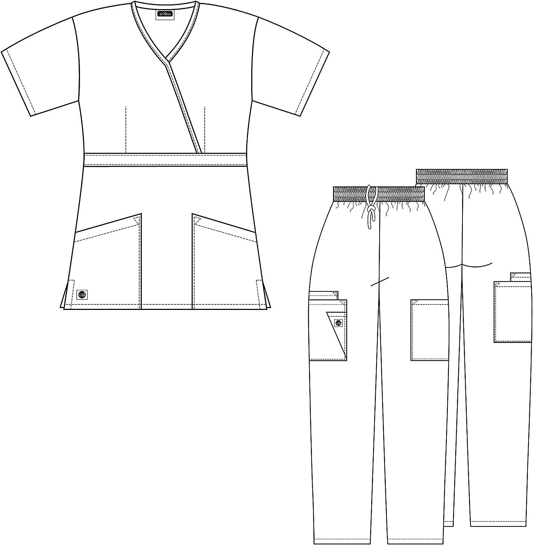 Multi Pocket Cargo Pants /& Stylish Mock Wrap Top Available in 15 Colors Sivvan Women/'s Scrub Set