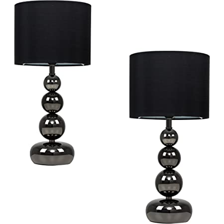 Pair of - Black Chrome Stacked Balls Touch Table Lamps with Black Faux Silk Shades