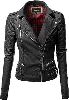 Awesome21 Women's Zipper Motorcycle Biker Faux Leather Jackets