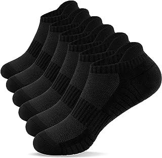 TANSTC Mens Running Socks 6 Pairs Anti-Blister Cushioned Cotton Trainer Socks for Men Women Ladies Sports Low Cut Breathab...