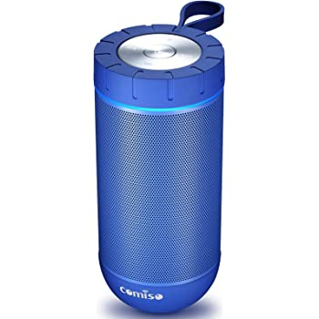 COMISO Waterproof Bluetooth Speakers Outdoor Wireless Portable Speaker with 20 Hours Playtime Superior Sound for Camping, Beach, Sports, Pool Party, Shower (Blue)
