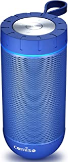 COMISO Bluetooth Speaker with 360 Surround Sound, 24 Hour Playtime, 66ft Bluetooth Range, IPX5 Water Resistance Dual-Driver Wireless Speaker for iPhone, Samsung (Blue)
