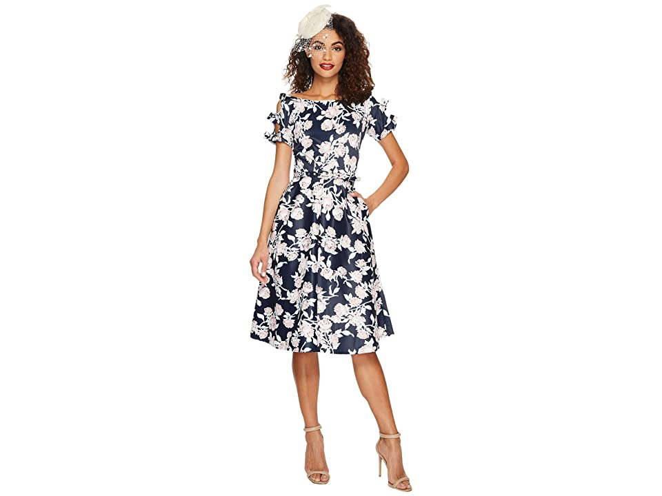 Unique Vintage Bow Dress (Navy Floral) Women