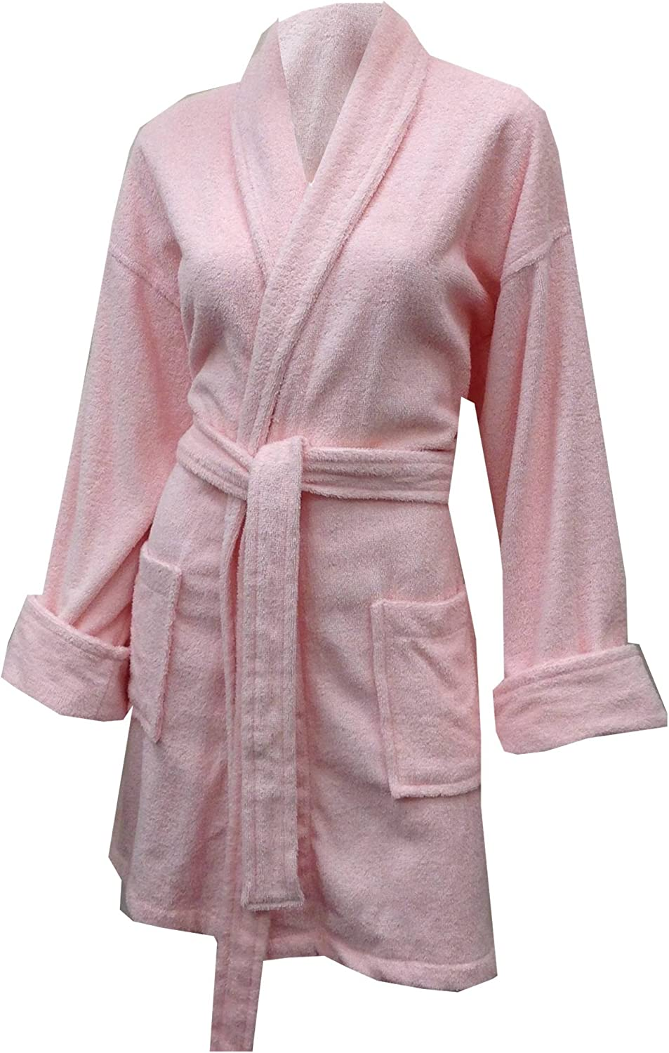 Aegean Apparel Women's Short Solid Terry Loop Robe in Light Pink, One Size