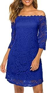 Twinklady Women's Off Shoulder Flowy Vintage Lace Shift Loose Mini Dress