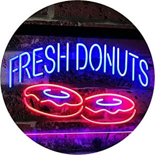 ADVPRO Fresh Donuts Home Décor Dual Color LED Neon Sign Blue & Red 16