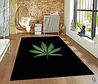 "Modern Mary Jane Leaf Weed Marijuana Plant Carpet Theme Oriental Area Rug (5' 3"" X 7' 5"")"