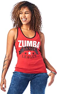 Zumba Soft Graphic Print Dance Fitness Tanks Workout Racerback Tops for Women, Really Red-y, L