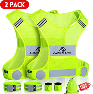 GoxRunx 2 Pack Reflective Vest Running Gear, Ultralight & Comfy Cycling Reflective Vests with Large Pocket & Adjustable Waist for Women Men, Night Runner Safety Vest + Hi Vis Armbands & Bag