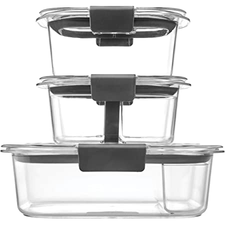 Rubbermaid Brilliance Food Storage Containers 10 Piece Plastic Containers with Lids Bento Box Style Sandwich and Snack Lunch Kit BPA Free, Leak Proof Food Container Microwave /Dishwasher Safe