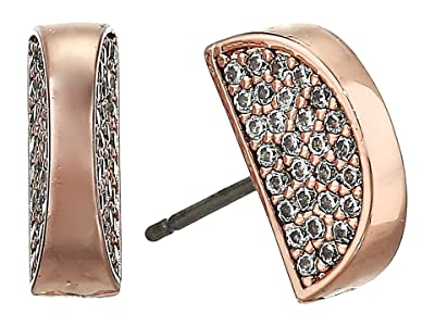 Kate Spade New York Sliced Scallops Pave Studs Earrings (Clear/Rose Gold) Earring