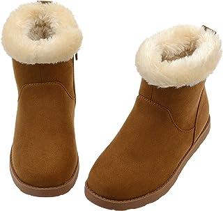 أحذية Vonair قصيرة للشتاء الدافئ مع بطانة فرو فرو صناعي حذاء برقبة للأطفال الصغار والفتيات الكبار
